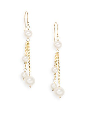 5MM-7MM White Round Freshwater Pearl & 14K Yellow Gold Drop Earrings