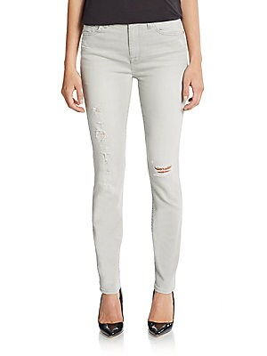 Distressed High Waist Skinny Ankle Jeans