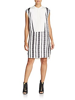 Silk Graphic Color-Blocked Shirtdress