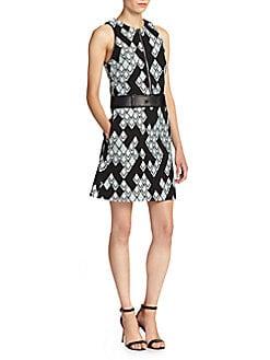 Graphic Print Zip A-Line Dress