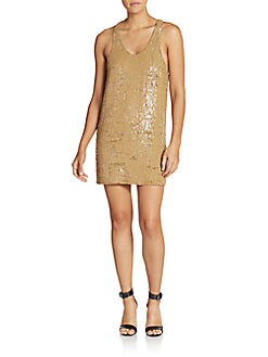 Plumage Sequined Shift Dress