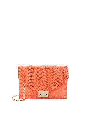 Snake-Embossed Leather Junior Lock Clutch