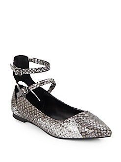 Finn Snake-Embossed Leather Ankle Strap Point Toe Flats