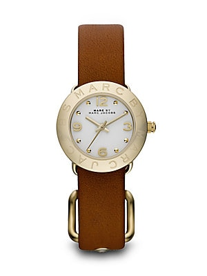 Amy Goldtone Stainless Steel & Leather Strap Watch