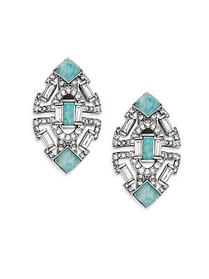 Coral Deco Amazonite & Crystal Stepped Clip-On Earrings