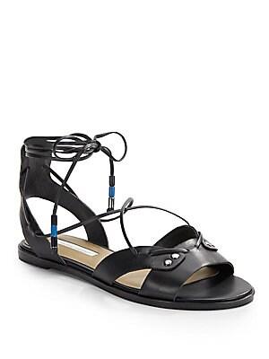Fantine Leather Lace-Up Sandals