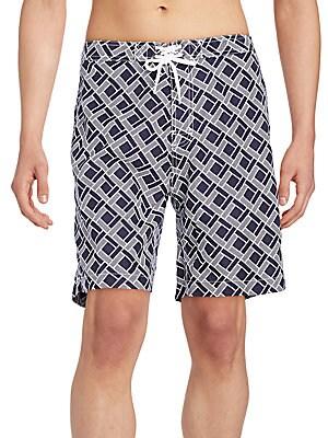 Geometric-Print Swim Trunks