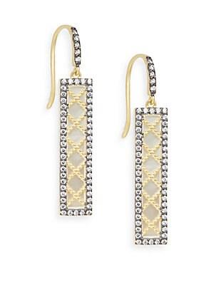 Mother-Of-Pearl Pavé Bar Drop Earrings