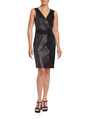 Bella Leather-Paneled Knit Wrap Dress