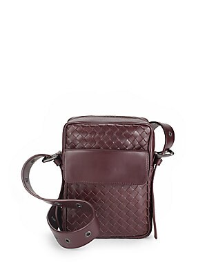 Eggplant Woven Leather Handbag