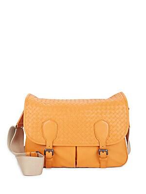 Buckle Close Woven Handbag