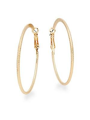 Crosshatch Hoop Earrings/Goldtone