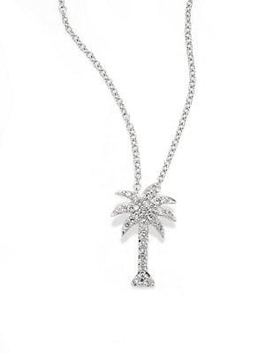 Effy Diamond & 14K White Gold Palm Tree Pendant Necklace
