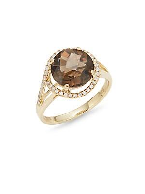 Diamond, Quartz & 14K Yellow Gold Ring