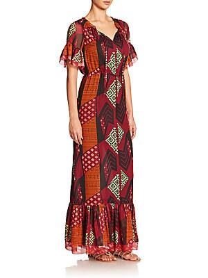 Jane Silk-Blend Collage Print Maxi Dress