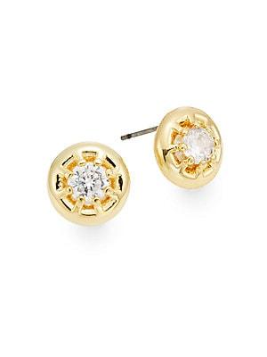 Holiday Royals Eliza White Stone Stud Earrings/Goldtone
