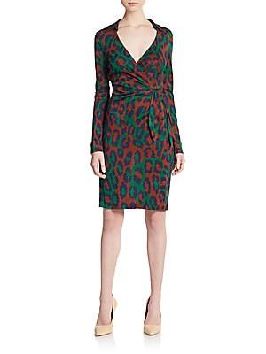 Savanna Faux Wrap Leopard-Print Silk Dress