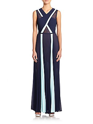 Pleated Crisscross Gown