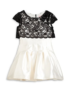 Girl's Lace Overlay Satin Dress