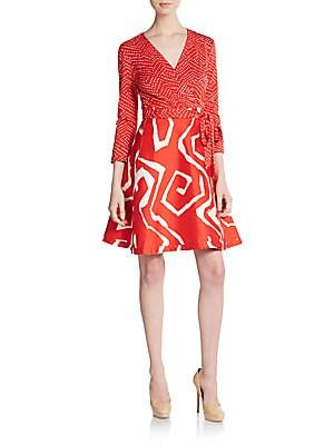 Amelia Mixed-Print A-Line Wrap Dress
