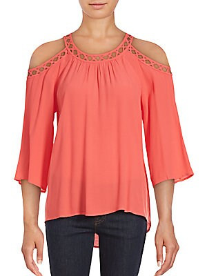 Cutout-Trim Cold-Shoulder Top