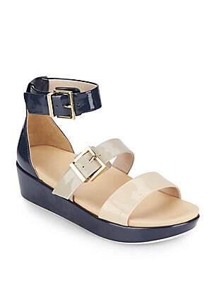 Joyce Colorblock Faux Patent Leather Flatform Sandals
