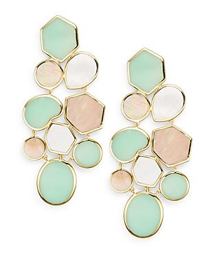 Rock Candy Deco Pisa Brown Shell, Chrysoprase, Mother-Of-Pearl & 18K Yellow Gold Drop Earrings