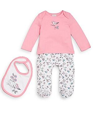 Baby's Bird-Print Top, Pants & Bib Set