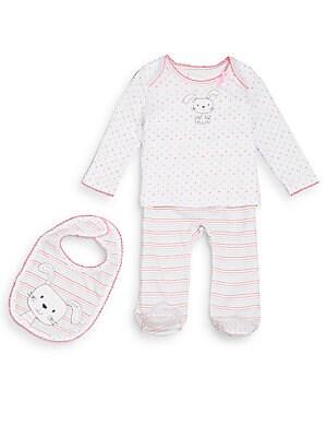 Baby's Bunny Top, Striped Pants & Bib Set