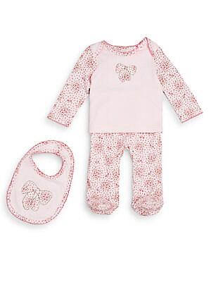 Baby's Floral-Print Bow Top, Pants & Bib Set