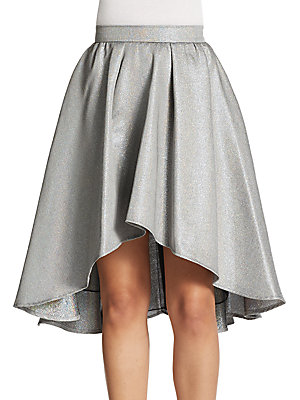 Layered Metallic Hi-Lo Skirt
