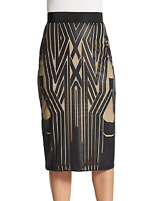 Graphic Print-Front Pencil Skirt