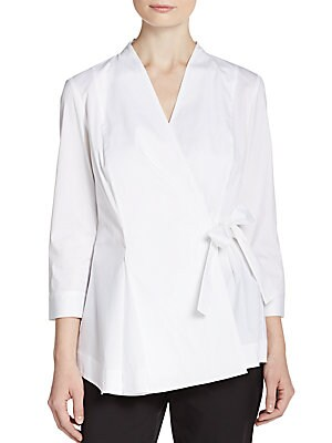 Stretch Cotton Wrap Blouse