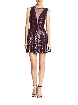 Sheer-Inset Sequined Dress