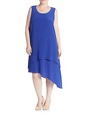 Layered Silk Asymmetrical Dress