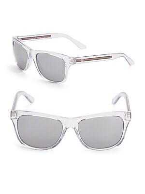 gucci female striped arm 58mm wayfarer sunglasses