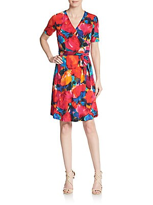 Abstract Floral-Print Faux Wrap Dress
