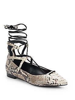 Beryl Embossed Leather Lace-Up Flats