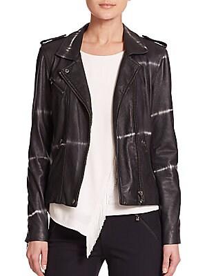 Shibori-Print Leather Moto Jacket