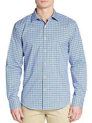 Shaped-Fit Glen Check-Plaid Sportshirt