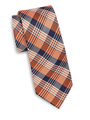 Tri-Plaid Silk Tie