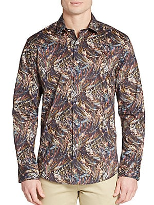 Shaped-Fit Abstract-Print Cotton Sportshirt