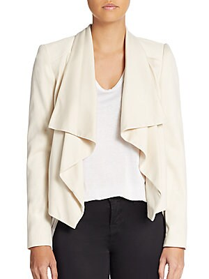 Cory Draped Leather-Detail Jacket