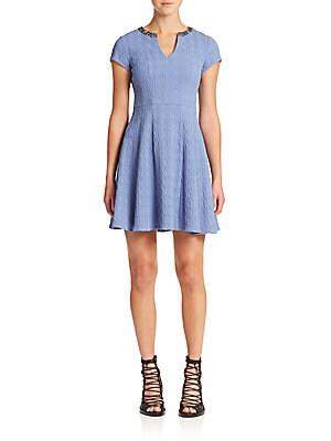 Daydream Embellished-Neck Fit & Flare Dress