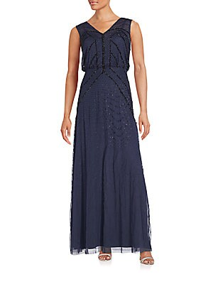V-Neck Sleeveless Beaded Gown