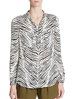 Zebra-Print Tie-Neck Silk Top