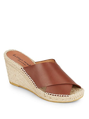Dijon Leather Wedge Espadrille Mule Sandals