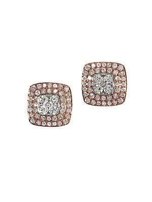 Final Call Diamond, 14K White & Rose Gold Stud Earrings