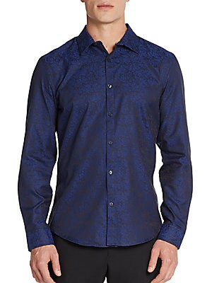 Slim-Fit Marbled Cotton Shirt