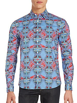 Abstract-Patterned Cotton Sportshirt